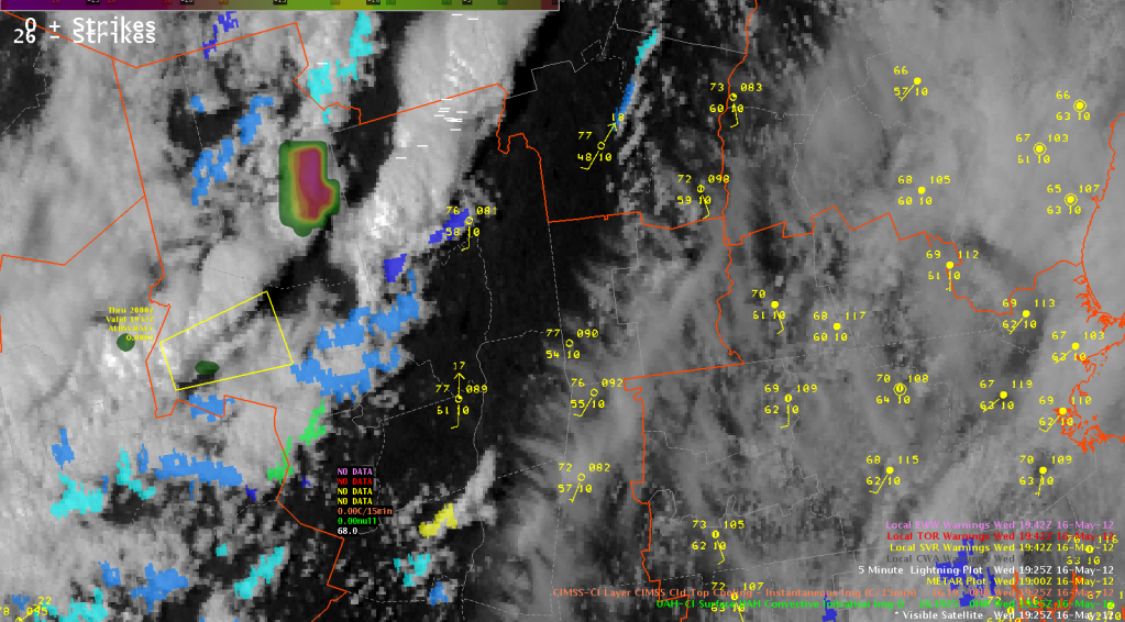 Visible Satellite, UW CTC, and UAH CI valid 2012-05-16