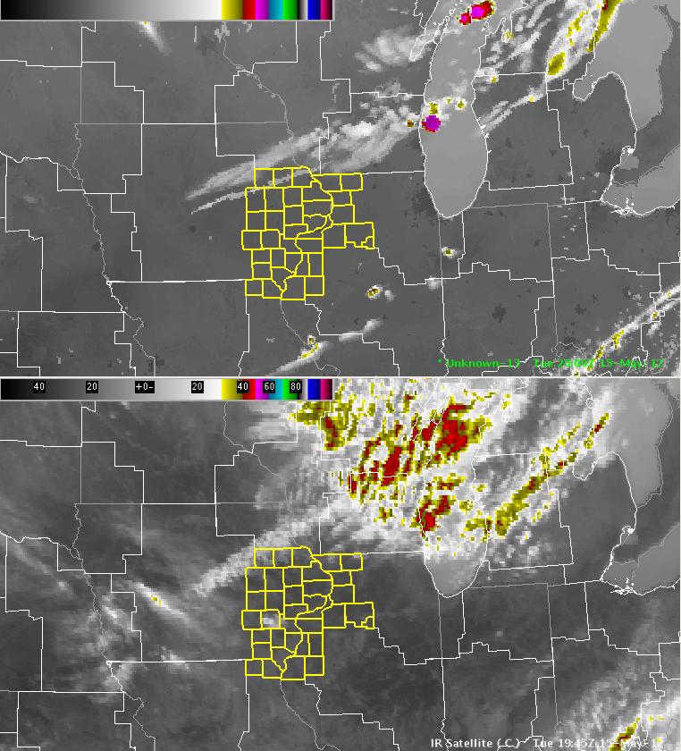 NSSL-WRF Simulated GOES-R IR Satellite (top) vs. Observed IR Satellite (bottom) at 2000 UTC 2012-05-15