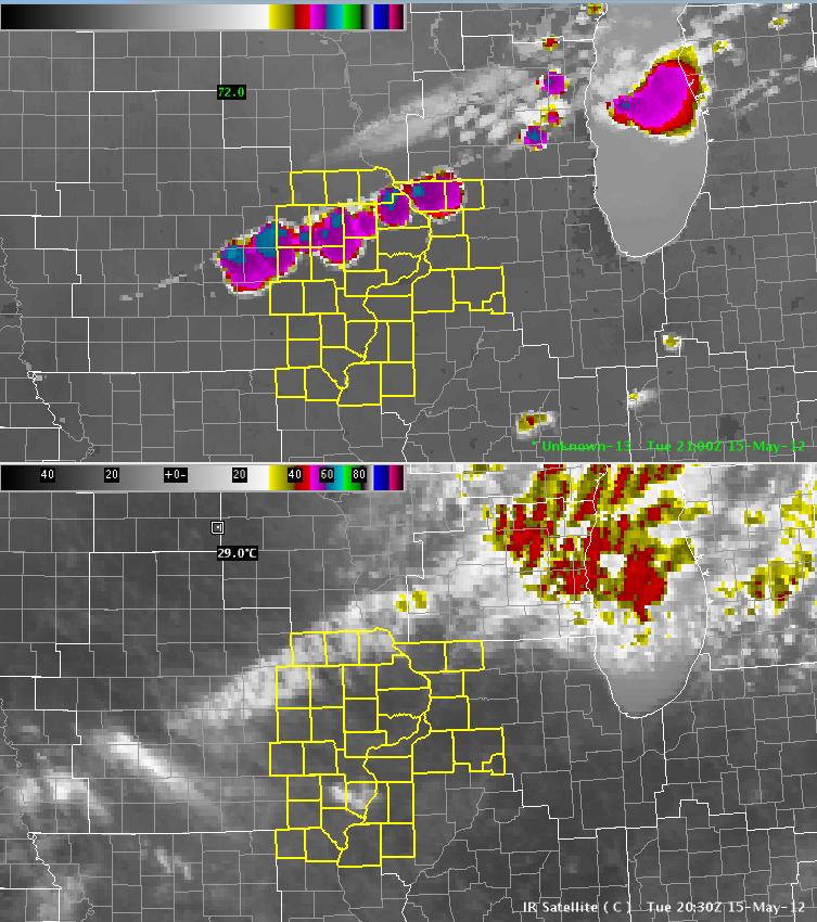 SimuSat Imagery at Top, IR Imagery at Bottom, valid 2100 UTC 2012-05-15
