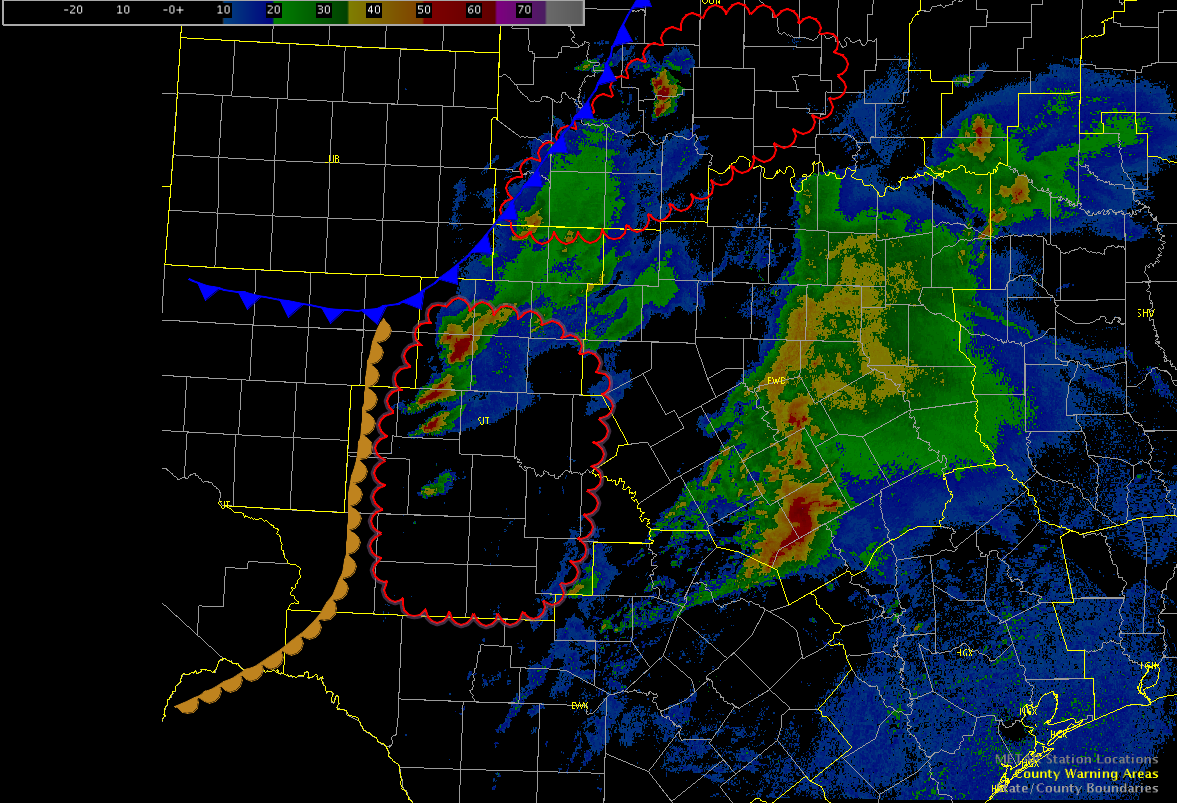 Red outlines mark highest confidence for significant severe weather.