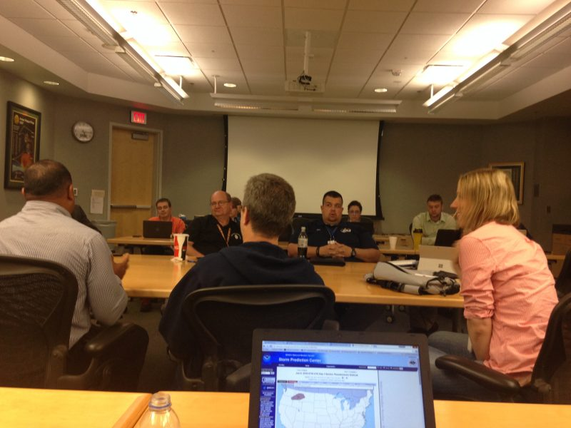 End of day debrief after HWT operations for Tropical Storm Colin.
