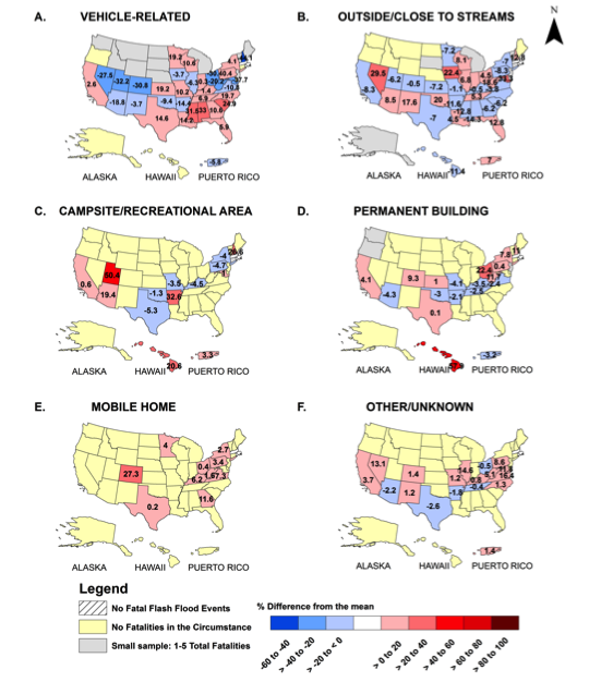 State-based proportion of fatality circumstances caused by flash flooding.