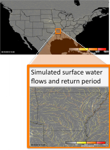The CREST hydrologic model is used to produce surface water fluxes at 1 km/5 min resolution. These discharges are converted to return periods using a long-term hindcast simulation with forcing from the gridded NEXRAD rainfall archive.