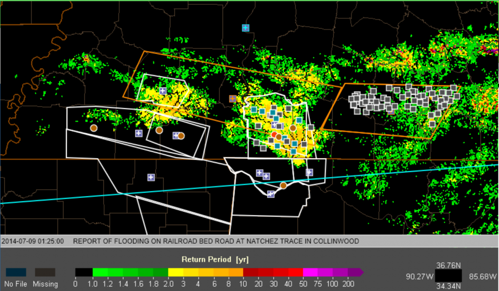 Example of LSR from south-central Tennessee for the evening of 8 July 2014