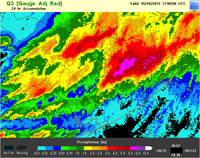 MRMS QPE for May 25th Houston Flash Flood