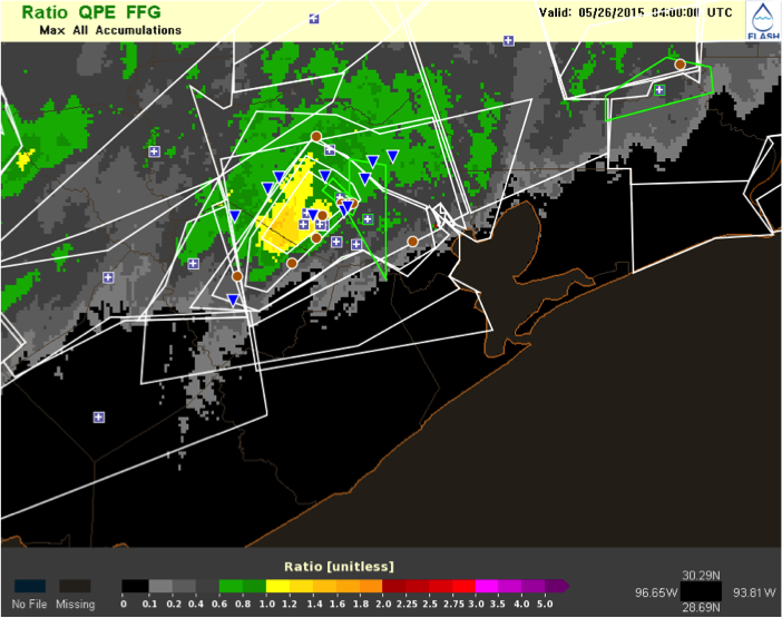 MRMS QPE to FFG Ratio for the May 25th Houston flash flood.