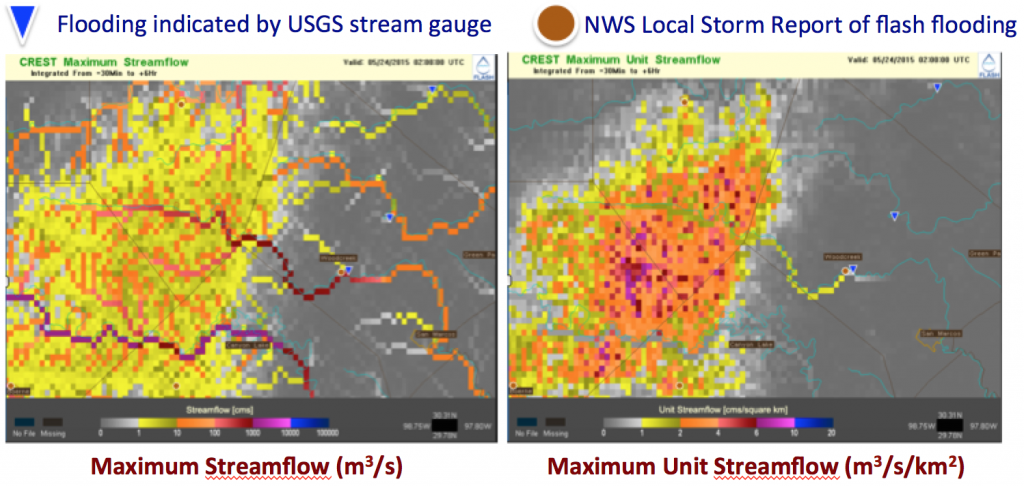 FLASH CREST Maximum Streamflow and Maximum Unit Streamflow for May 24th, 2015 02 UTC.