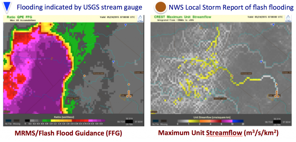 FLASH QPE to FFG ratio and CREST unit streamflow for May 24th, 2015 07 UTC.
