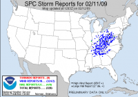 Storm Reports for Wednesday, February 11, 2009