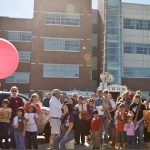 Kids of all ages enjoy a balloon launch at the National Weather Festival