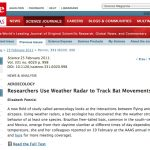 Science journal publishes article on weather radar tracking bats