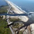 Hurricane Irene cut two inlets in the Pea Island National Wildlife Refuge on Hatteras Island.  Photo:  U.S. Fish & Wildlife Service