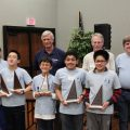 (Left to right - front row) Katherine Brooks, Vincent Li, Daniel Lamothe, Aniket Dehadrai, and Howard Zhong. Aniket and Howard qualified for Nationals. (Back row) Gaylon Pinc from the Oklahoma Society of Professional Engineers and Chair of OK Mathcounts program, head grader, and Harold Brooks.