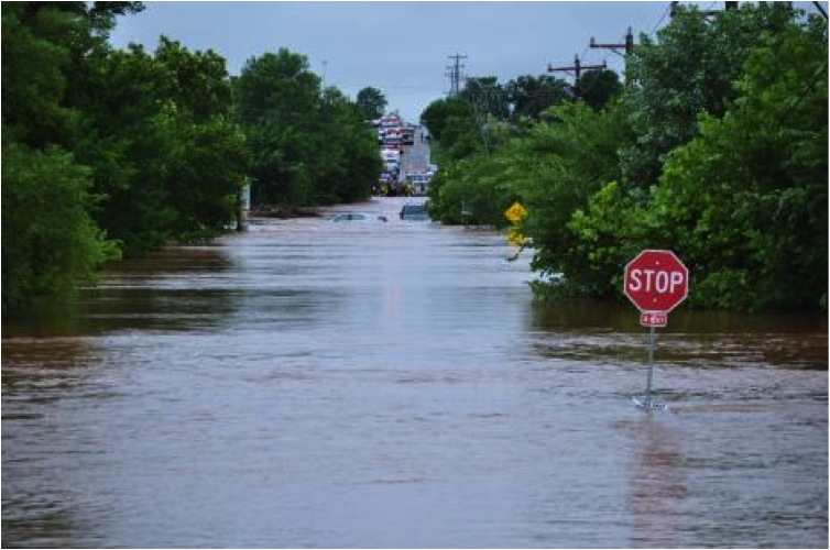 Flooded roads in Oklahoma