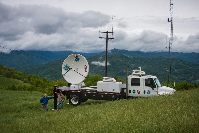 The NOAA X-Pol (NOXP) mobile radar on top of a mountain in North Carolina to collect data for the IPHEx project.