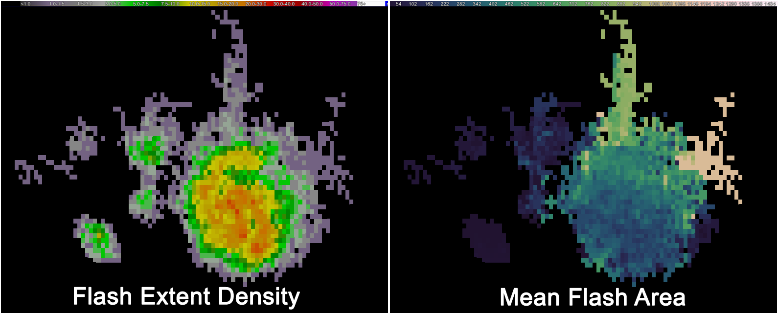 """A comparison of the 2000 UTC 1 min. flash extent density (left) and mean flash area (right) for a supercell over Kingfisher County, Oklahoma on 16 May 2010. This storm produced a wide swath of giant hail (>2"""" in diameter), causing severe damage to buildings and vehicles in it path."""