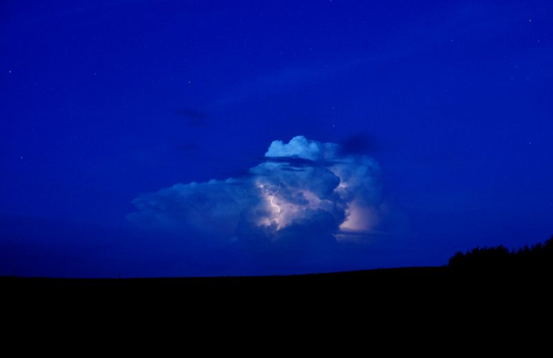 A nighttime thunderstorm near Scottsbluff, NE. Photo credit: Chris Spannagle.