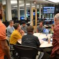 NSSL research scientists brief visiting forecasters on new products they will evaluate. Photo by Steve Martinaitis.
