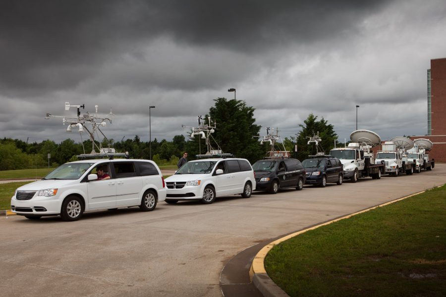 Mobile Mesonets, and other vehicles utilized in PECAN, are seen at the National Weather Center before leaving for the project.