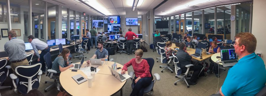 A panoramic view of NOAA's Hazardous Weather Testbed during the Spring Forecasting Experiment in April and May.