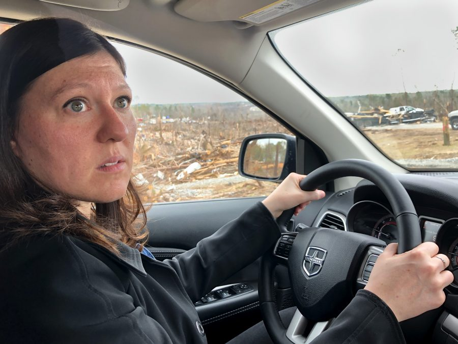 Kim Klockow-McClain encounters  damage in the area of Alabama that experienced deadly tornadoes in early March. She recently visited 10 public safety officials and communicators who were affected by the March tornado in Alabama and Georgia. Her three-day trip is part of her research through the Verification of the Origins of Rotation in Tornadoes EXperiment-Southeast, or VORTEX-SE.