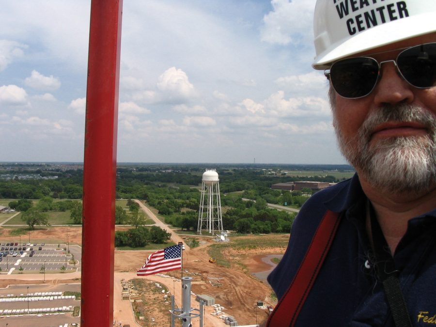 Doug Forsyth on top of the National Weather Center while it was under construction. The photo is a selfie.