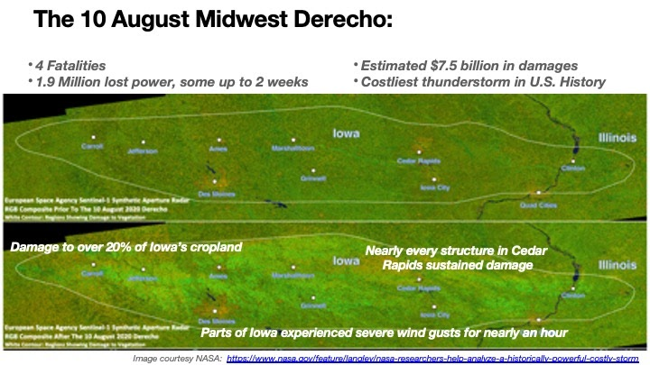 Presentation slide showing satellite imagery before and after the Iowa Derecho. Image courtesy of NASA.