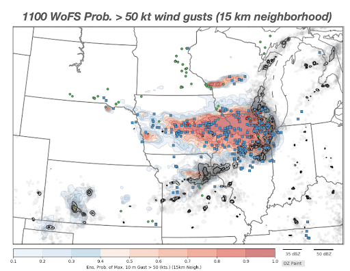 A screenshot of the Warn-on-Forecast System with plots summarizing the probability of severe near-ground winds.