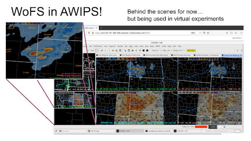 A screenshot of the experimental WoFS guidance in the AWIPS-2 viewer.