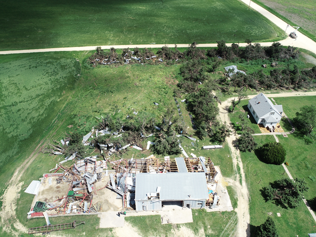 aerial photo of storm damage