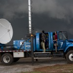 A Doppler on Wheels radar tracks an intense supercell thunderstorm west of Guthrie, Oklahoma, on May 19, 2010. Credit: UCAR