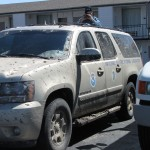 The Media Vehicle acquired some mud from following probes the night before. Credit: Susan Cobb