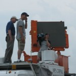 The Weather Channel's Mike Bettes and Greg Forbes on top of the CIRPAS radar. Credit: Robin Tanamachi