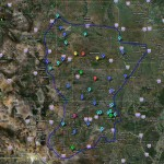 The colors of the balloons indicated the number of times the armada stayed in a given town:Purple=6 times, Red=5, Yellow=4, Green=3, Blue=2, Cyan=1. Credit: Kevin Scharfenberg