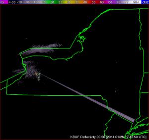 A sun strobe from the Buffalo, NY radar